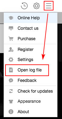 Open log file on TunePat Mac