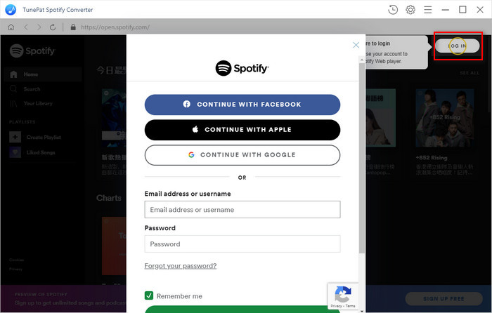 Log in Spotify account on TunePat